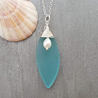 product image for Handmade in Hawaii, Larger piece sea glass necklace with top wire natural rice pearl, Hawaiian Gift, (Hawaii Gift Wrapped, Customizable Gift Message)