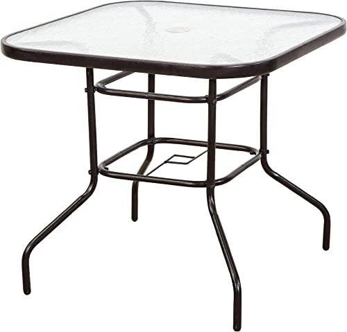 FurniTure Outdoor Patio Table Patio Tempered Glass Table 32″ Patio Dining Table