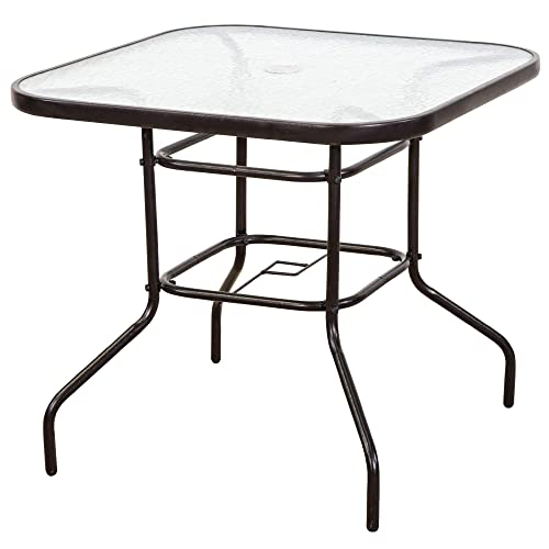 FurniTure Outdoor Patio Table Patio Tempered Glass Table 32 Patio Dining Tables with Umbrella Hole Perfect Garden Deck Lawn Square Table, Dark Chocolate