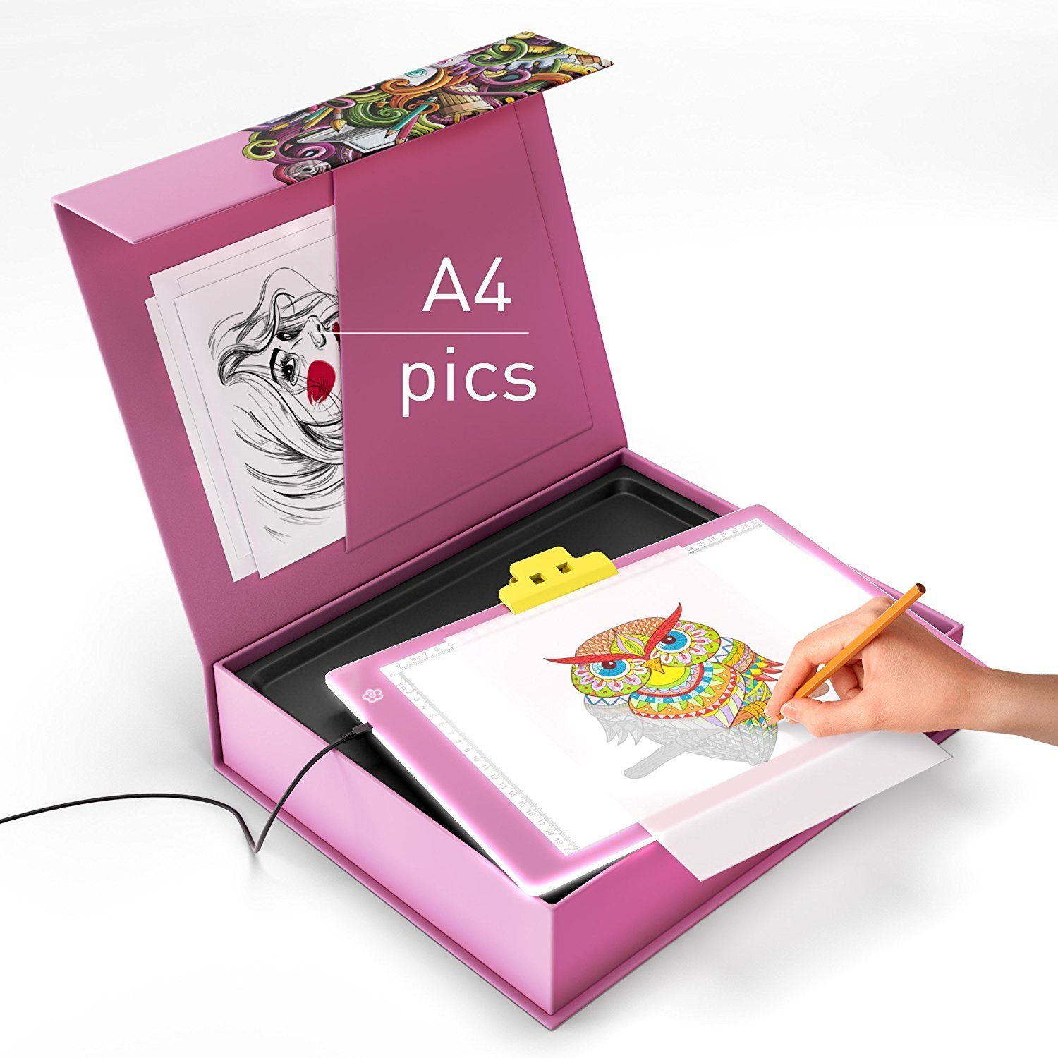 LED Light Box - LED Tracing Pad - LED Light Board - A4 USB Power Ultra Thin Portable Tracing Light Box Pad Board Table