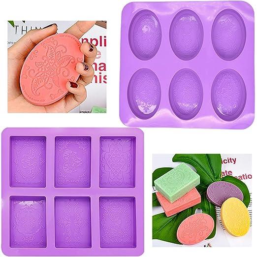 Molde de jabón de silicona BESTZY 2PCS moldes de cavidad para ...