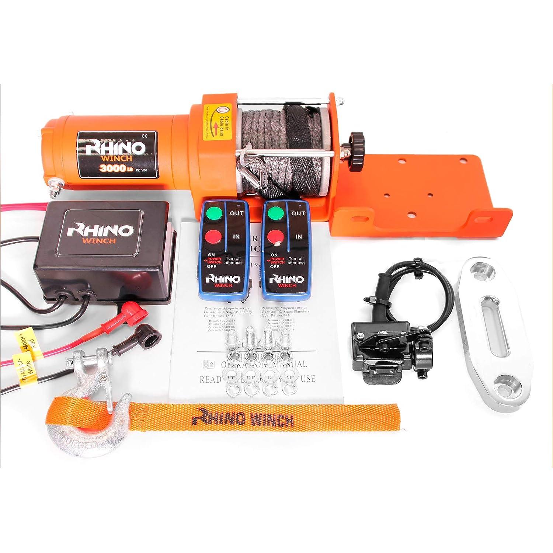 Rhino Electric Winch Wireless 3000Lb / 1360Kg 12v - Synthetic Dyneema Rope - Stronger Than Steel Rhino Winch