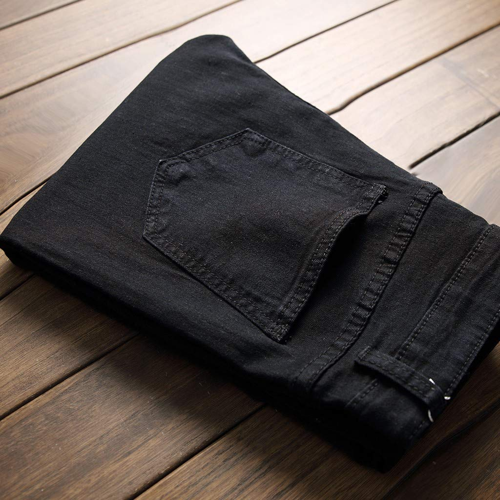 Mens Jeans Men Long Destroyed Holes Ripped Straight Slim Fit Biker Motorcycle Denim Pants Fashion Casual Comfort Trousers