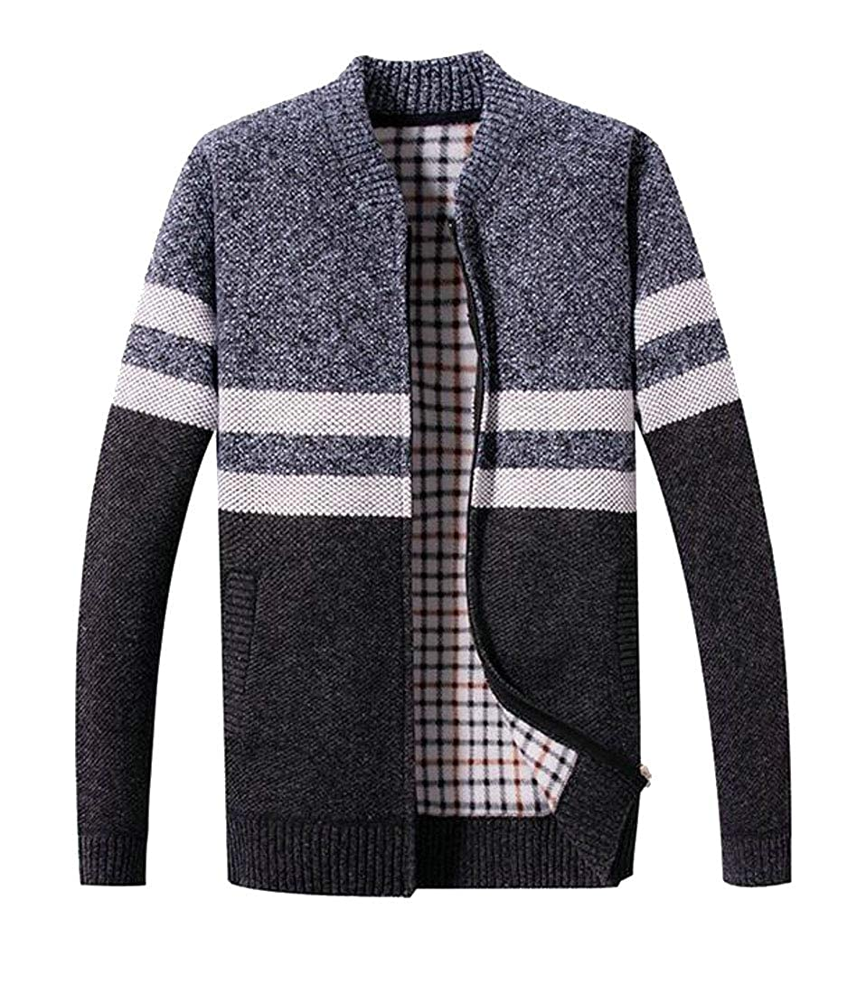 FRPE Men Zip-up Color Block Knitted Thicken Cardigan Sweaters Outwear