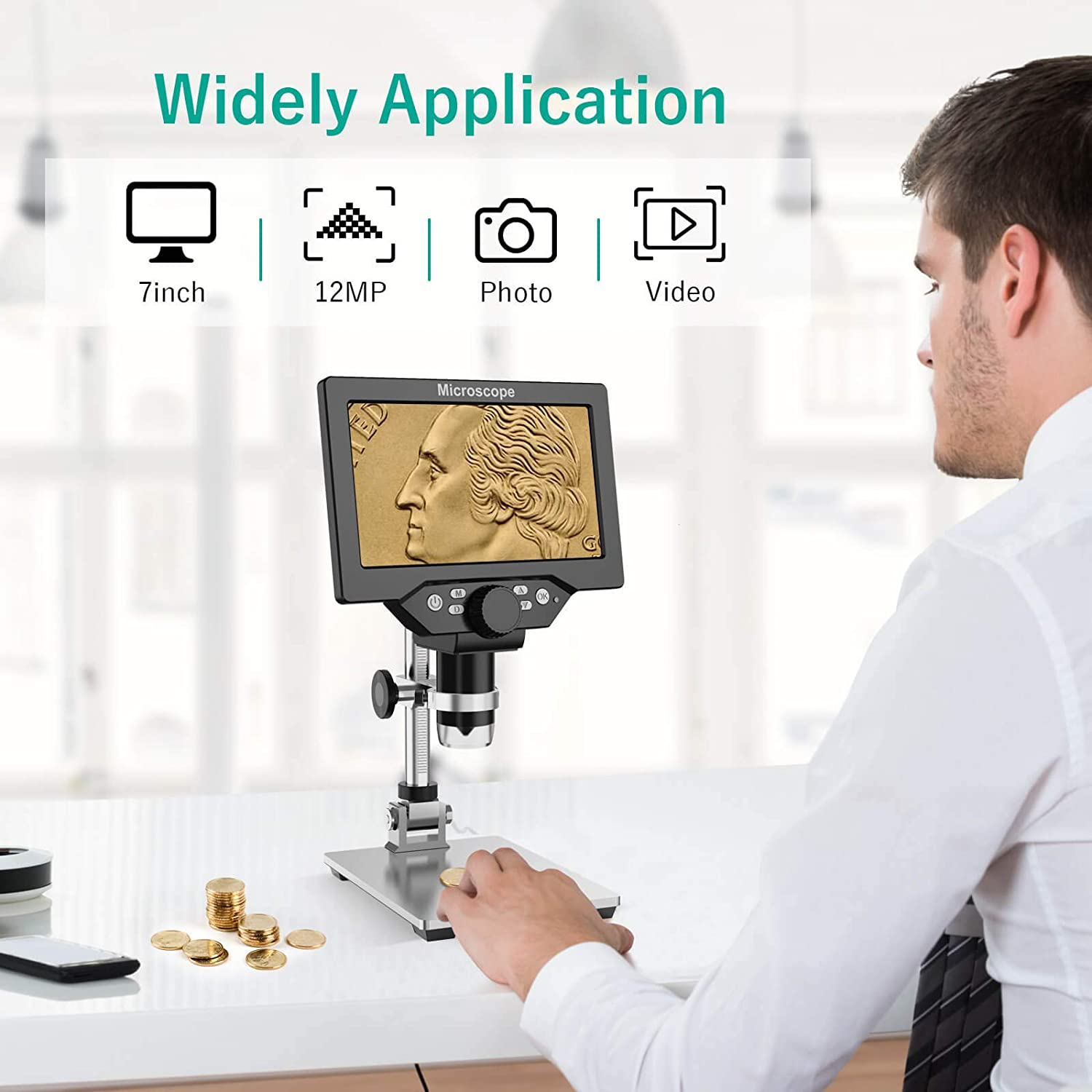 1080P Video Camera USB Microscope+32GB TF Card 3X 45X Magnifier Glass 7 LCD Digital Microscope for Kids Adults 10-1200X Magnification Handheld Electronic Coin Microscope for Repair Soldering