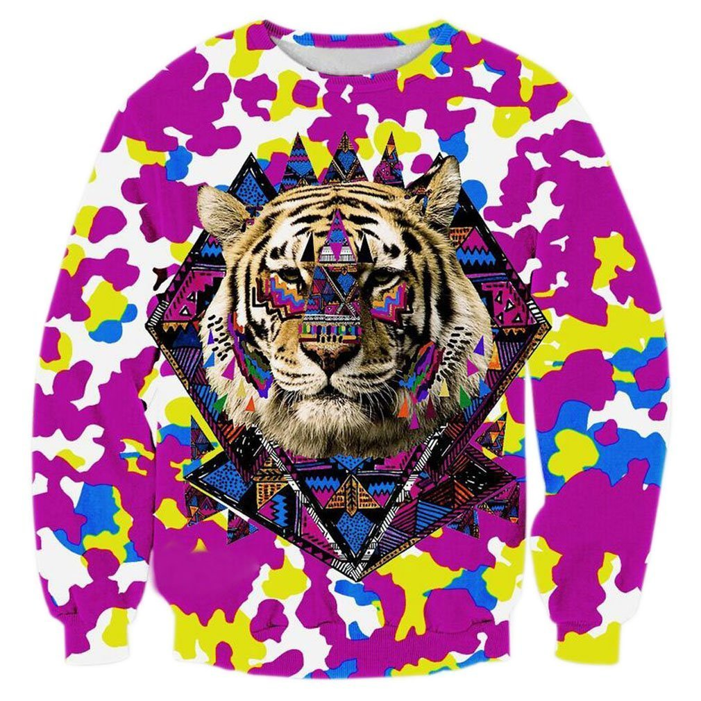 Unisex 3D Digital Print Crewneck Pullovers Sweater Sweatshirts Hooded