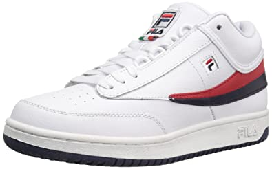 Fila Mens T-1 MID Fashion Sneaker, White Navy Red, ...