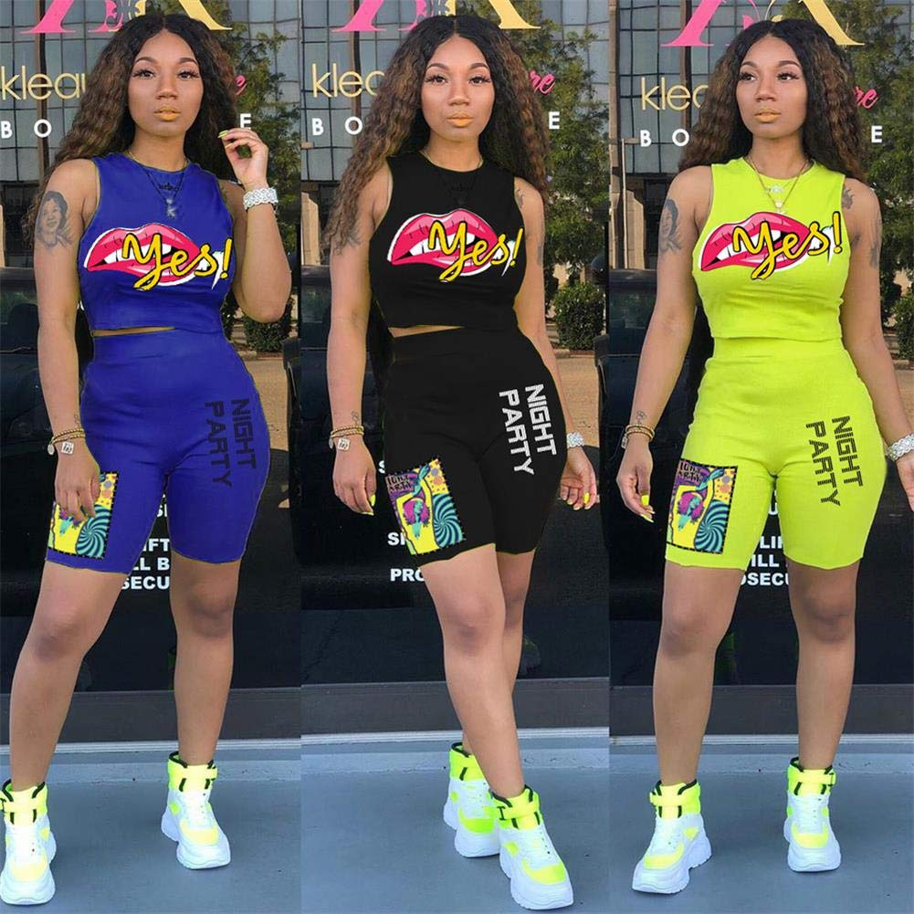 Women Casual Party 2 Piece Outfits Letter Print Round Neck Sleeveless Corp Top and Short Pants Set Cluewear