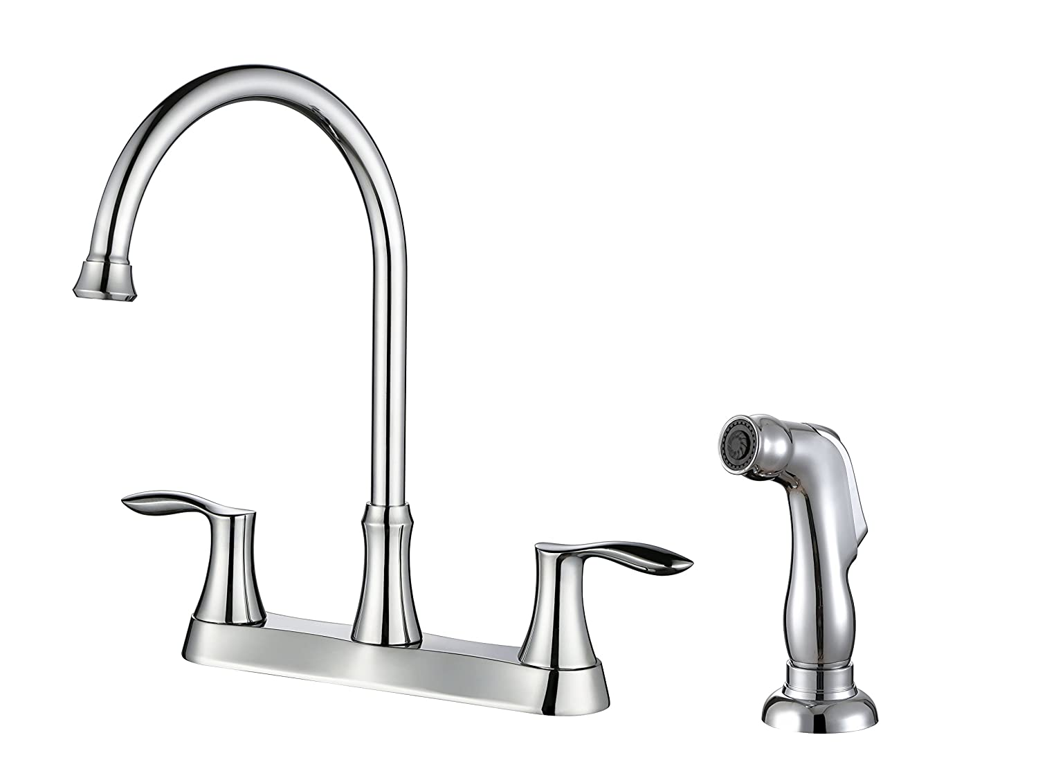 DuBeta Two Handle Kitchen Sink Faucet W/Side Spray, Brushed Nickel