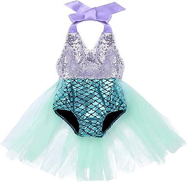 iixpin Traje de Baño de Sirena Brillante Bebés Niñas Disfraz de ...