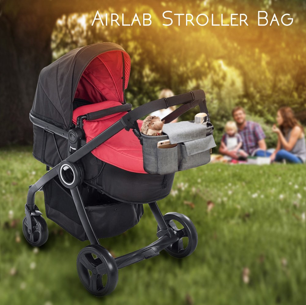 Airlab Stroller Organizer, Parents Organizer Bag, 2 inch Enlarge, Deep Bottle Cup Holder, Extra-Large Storage Space Fits Universal Stroller for Baby Accessories, Diapers, iPhone, Wallets, Waterproof by Airlab (Image #7)