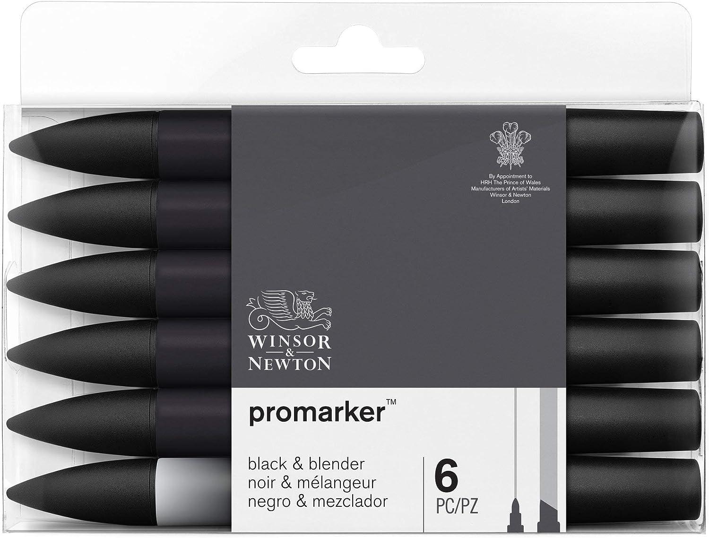 Winsor & Newton ProMarker, Set of 6, Black + Blender 6 Count