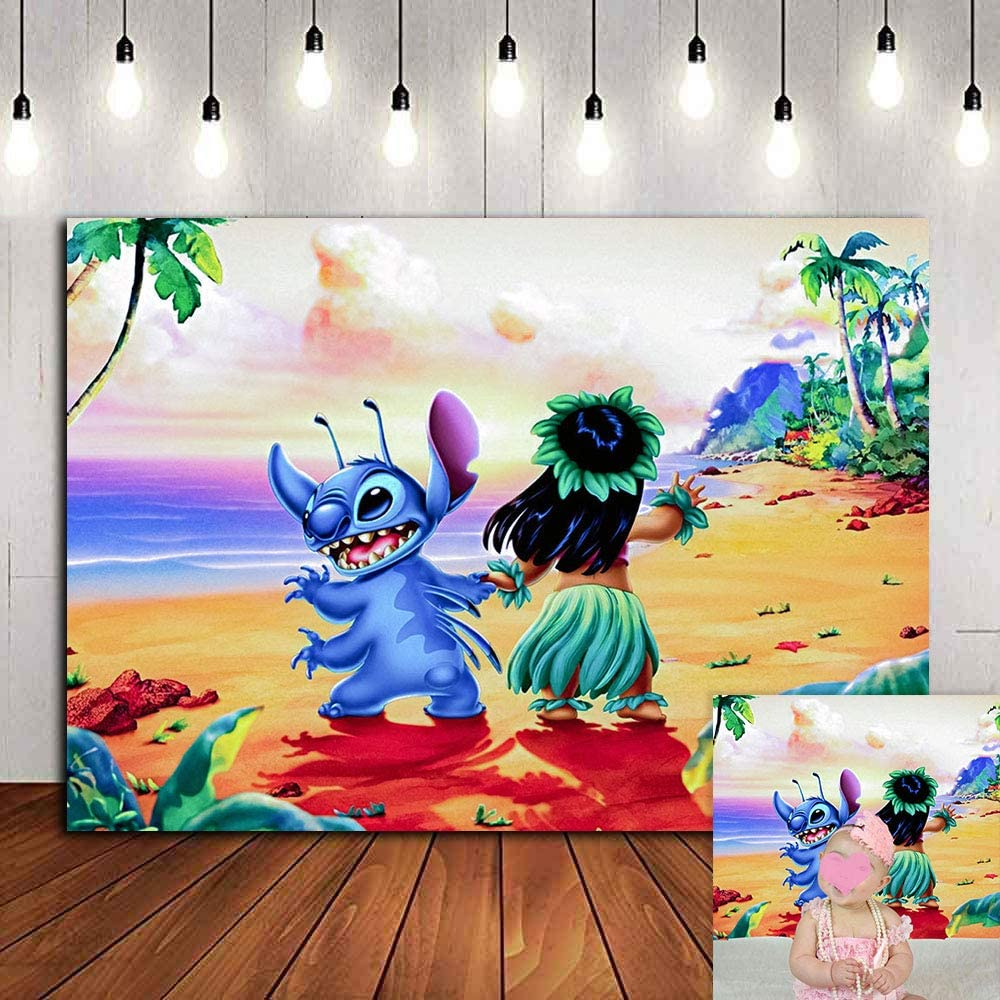 Tropical Summer Sea Beach Photography Backdrop Vinyl Lilo Stitch Luau Hawaii Photo Background Kids Birthday Party Decorations Party Banner Baby Shower Photo Booths Classroom Decorations 5x3ft