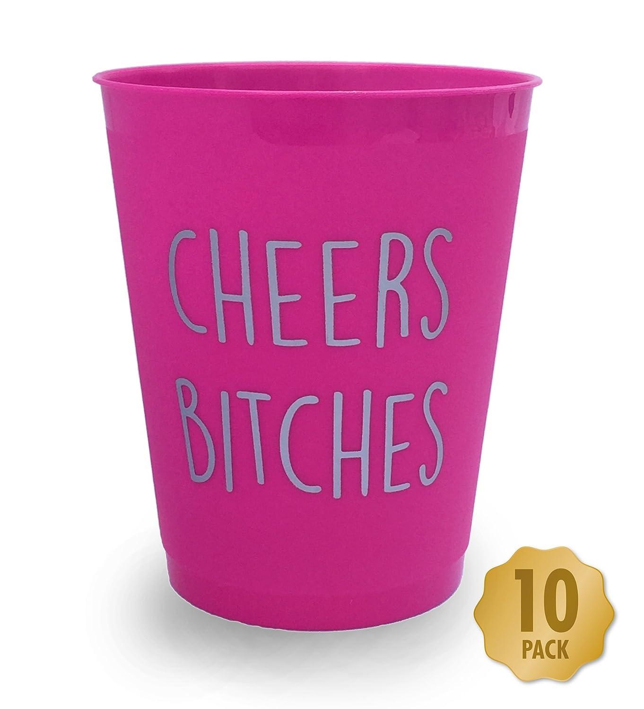 """Funny Party Stuff Bicchiere per addio al nubilato o per serata fuori tra ragazze, con la scritta """"Cheers Bitches"""" in inglese, in argento e rosa acceso, confezione da 10 Myprints"""
