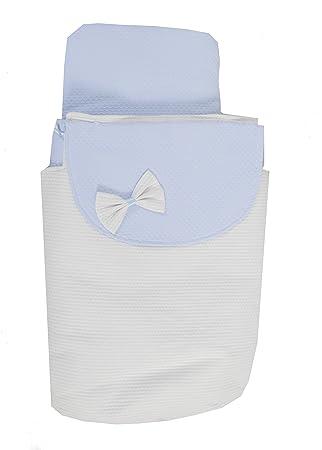 Saco Capazo 3 USOS- Carrito bebe (Saco + colchoneta + Colcha)  .Serie Santorini .Color Blanco-celeste: Amazon.es: Bebé