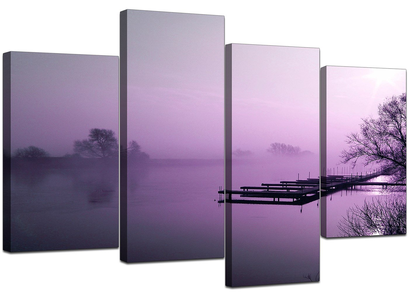 Large Purple Landscape Bedroom Canvas Wall Art Pictures 130cm Set 4119:  Amazon.co.uk: Kitchen U0026 Home