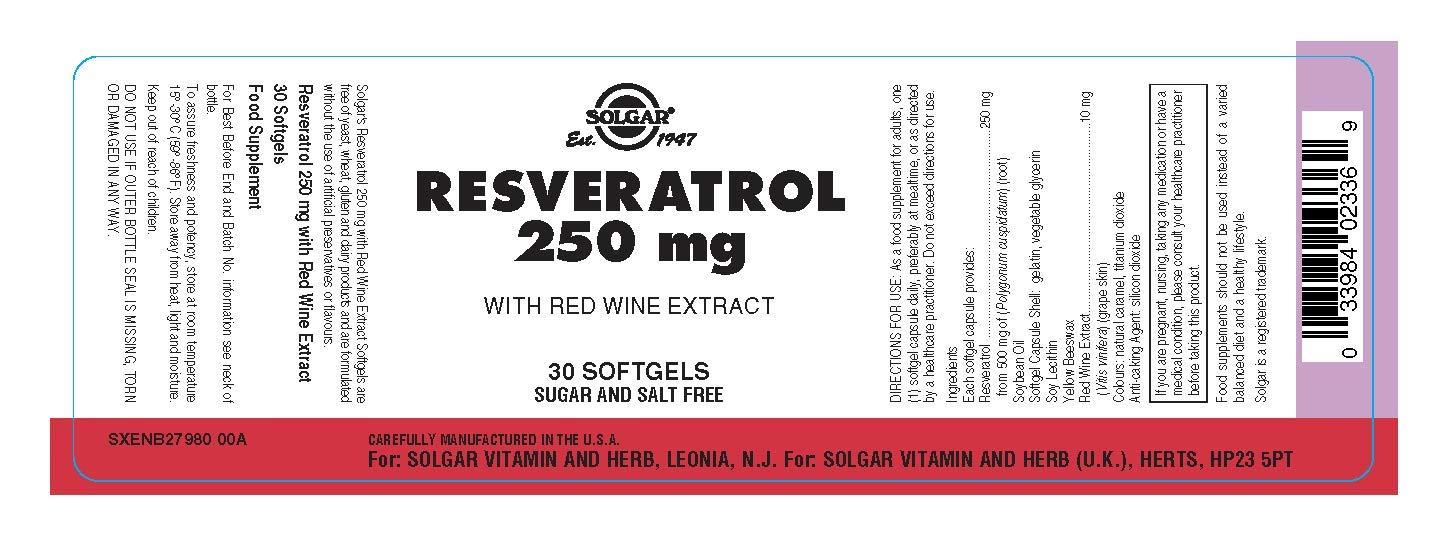 Solgar Resveratrol Cápsulas blandas de 250 mg - Envase de 30: Amazon.es: Salud y cuidado personal