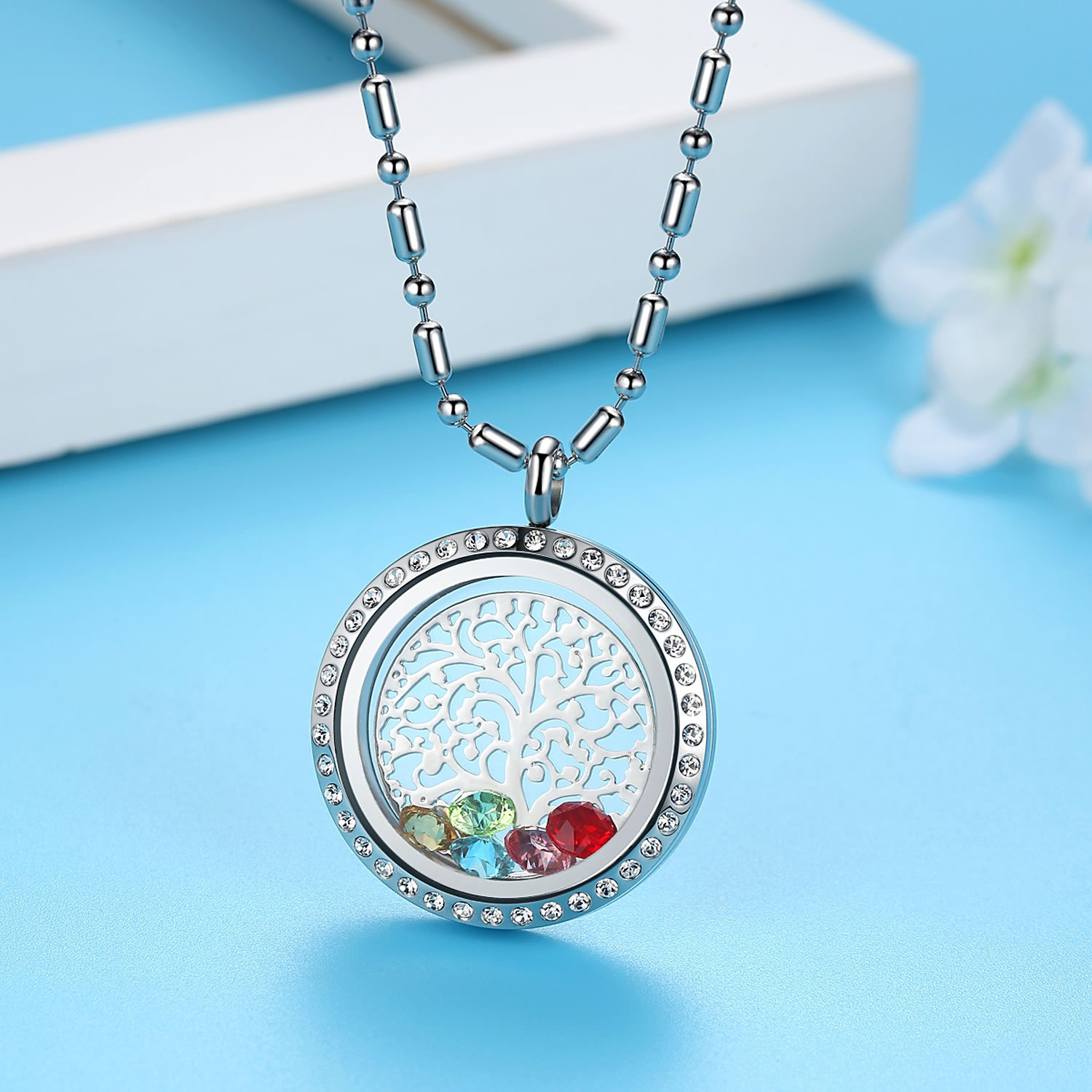 Family Tree of Life Birthstone Necklace Jewelry - Gifts for Mom Floating Charm Living Memory Lockets Pendant, Mother's day gifts, Birthday Gifts, Christmas day gifts, Anniversary Thanksgiving gifts by Feilaiger (Image #2)