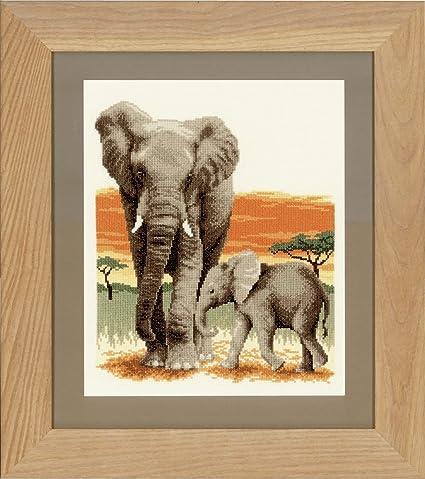 Vervaco Z/ählmuster Elefanten unterwegs Aida Z/ählmusterpackung-Stickpackung im gez/ählten Kreuzstich Baumwolle 26 x 30 x 0.3 cm Mehrfarbig