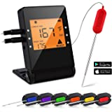 Bluetooth Digital Meat Thermometer, Wireless Instant Read BBQ Meat Thermometer for Grilling, Smart with 6 Stainless Steel Probes Remoted Monitor for Cooking Smoker Oven Kitchen, Support IOS & Android