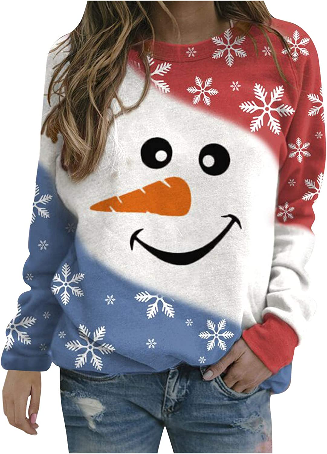 Christmas Sweatshirts for Women Funny Cute Facial Expression Snowman Graphic T Shirt Pullover Crewneck Long Sleeve Tops
