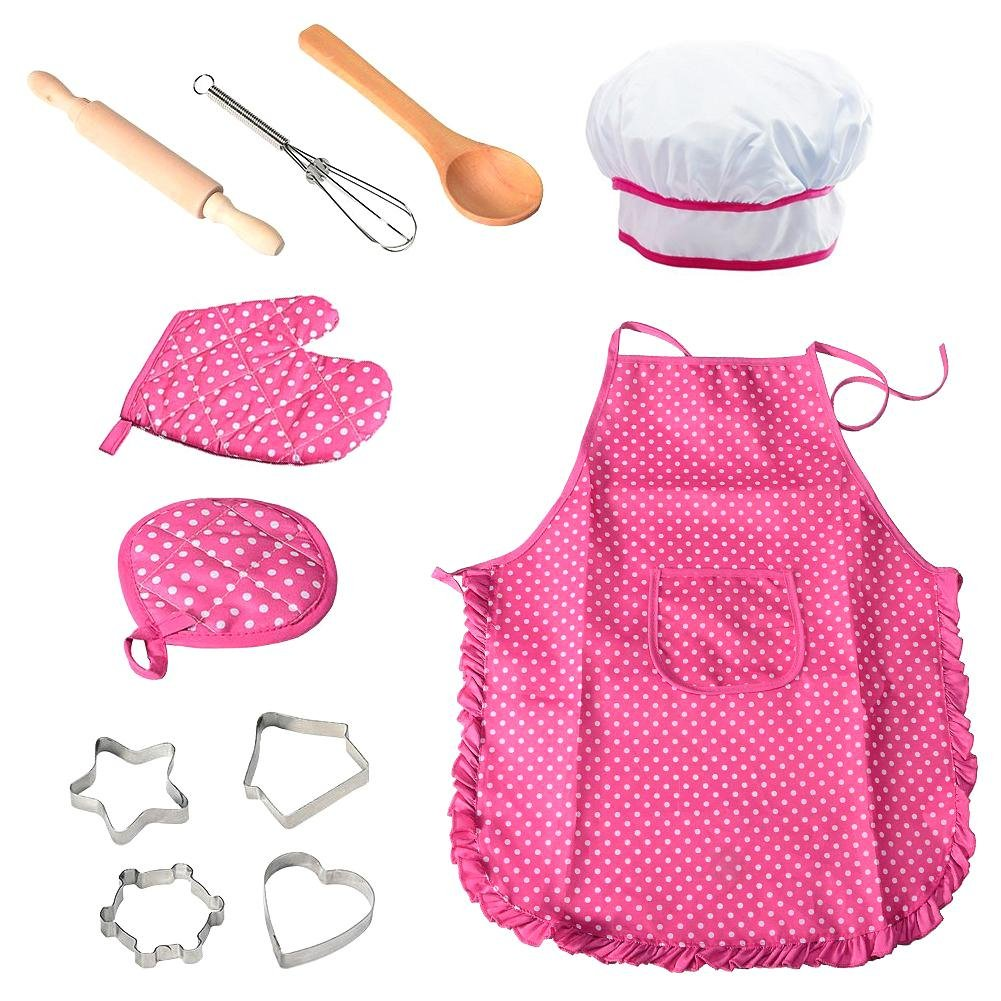 Ritapreaty Lot de 11 ustensiles de Cuisine pour Enfants avec Tablier pour Filles