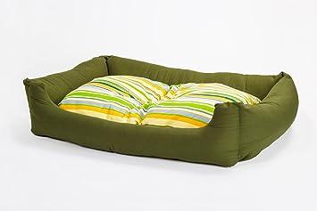 Cama para perros en verde, 100x70 cm con colchoneta ...