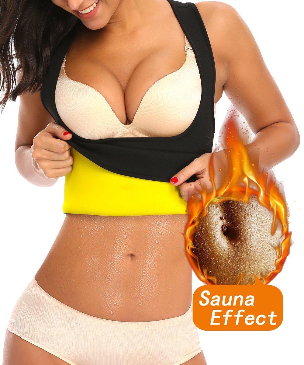 LAZAWG Women Sweat Slimming Vest For Workout Weight Loss Hot Neoprene Sauna Racerback Shirt Body Shaper Tank Top No Zip Black XXX-Large