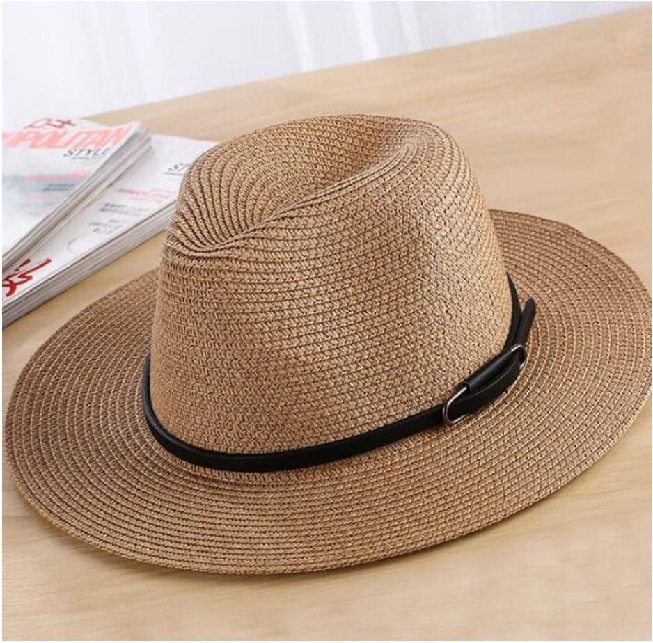 Comfortable Men Women Sun Hat Fedora Hat Ladies Summer Unisex Straw Panama Hat Water Bottle Hat British Godfather Church Jazz Hat Punk Band Cowboy Trend Fashion Color : Beige, Size : 56-58CM