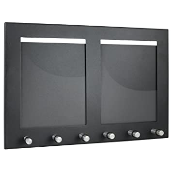 HMF - Colgador para Llaves (con 2 Marcos de Fotos y 6 Ganchos para Llaves), Color Negro