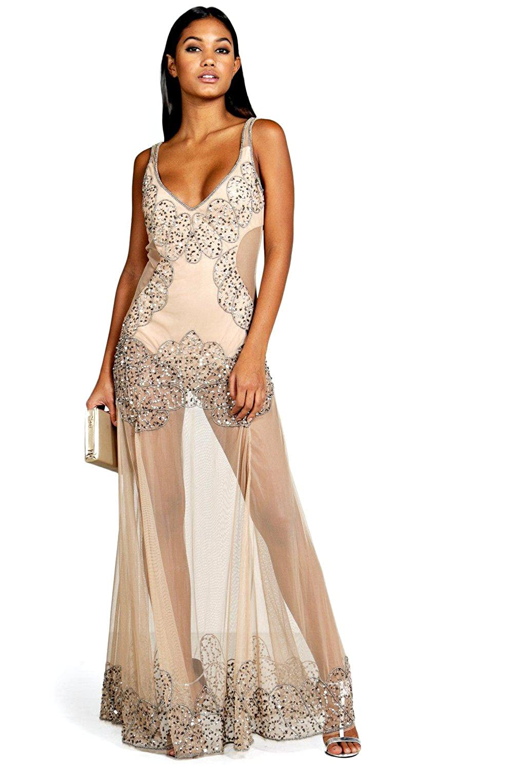 Nude Womens Boutique Naty Embellished Placement Maxi Dress