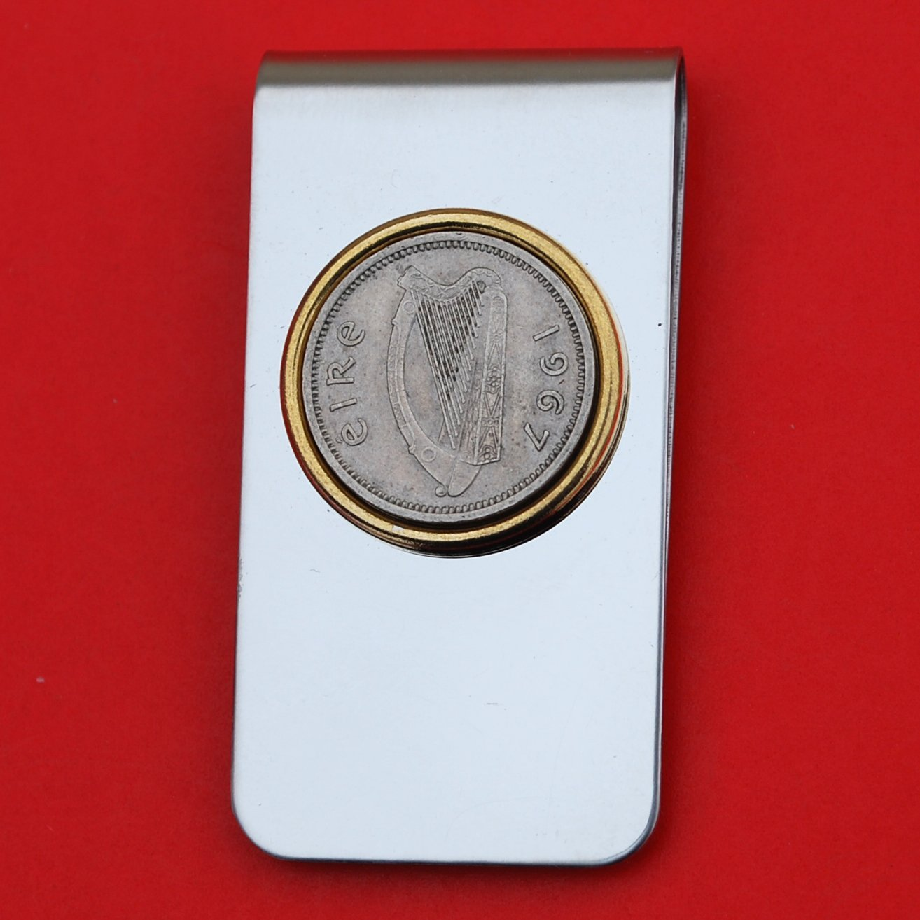 1967 Irish Ireland 3 Pence Harp Coin Gold Silver Two Toned Stainless Steel Money Clip New 71Q2Bqikq6-L