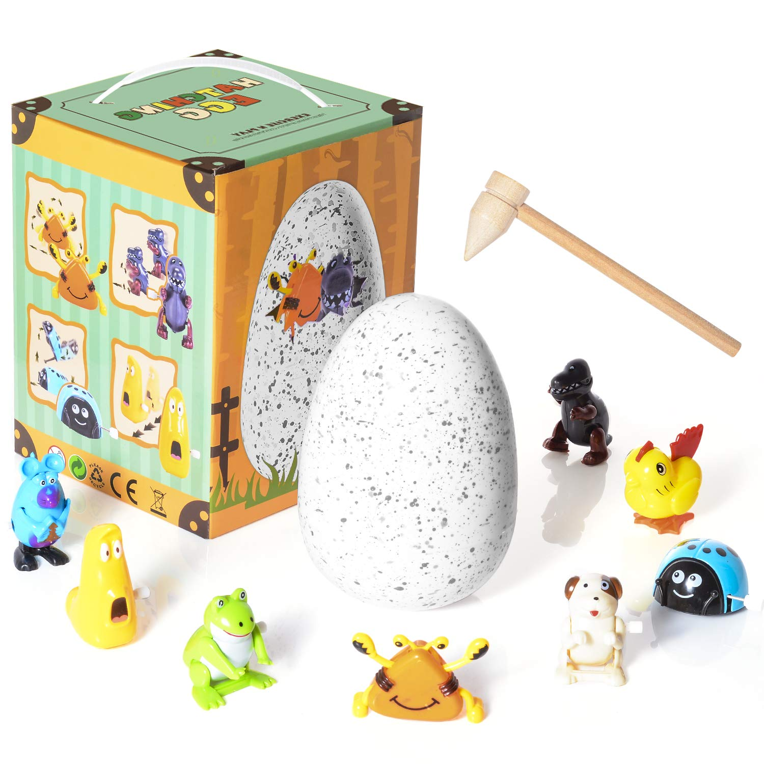 WishaLife Hatchimal Surprise Hatching Egg - Set of 8 Wind Up Animals Toys for Kids Birthday Gifts Party Favor (Includes Mouse, Dog, Dinosaur, Chick, Frog, Ladybug, Crab, Larva, Wooden Hammer) by WishaLife (Image #6)