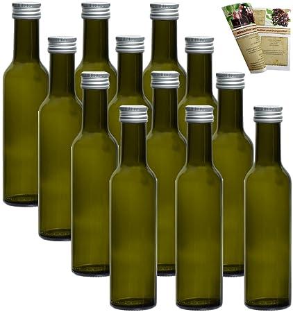 guoveo - 12 botellas de 250 ml con tapón de rosca plateado, botellas de vidrio
