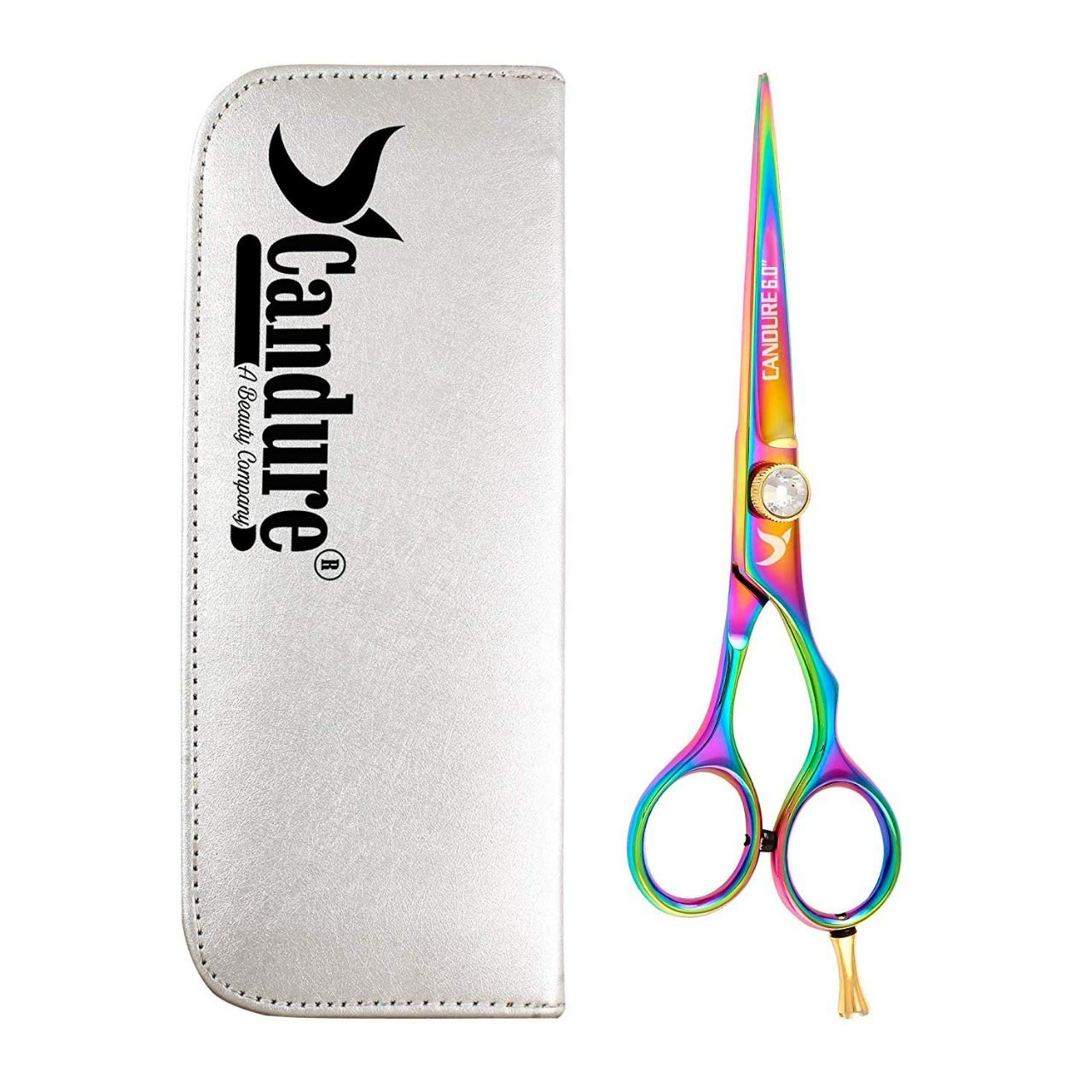 Hairdressing Scissors - Hair cutting Scissor - Stainless Steel - Barber Salon Scissors + A Beautiful Presentation Case (Polish (6)) CANDURE®