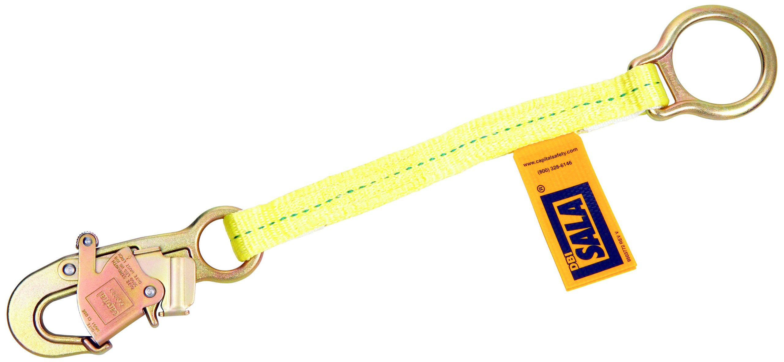 3M DBI-SALA 1231117 D-Ring Extension with Self Locking Snap Hook X 18'', Yellow, 15 ' by 3M Personal Protective Equipment (Image #1)