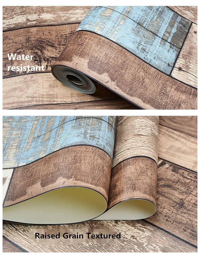 BloomingWall Vintage Wood Panel Wood Plank Wallpaper Roll Wall Paper Wallcoverings Wallpaper for Walls for Livingroom Kitchen Bedroom,20.8 inches x 393.7 inches,Multicolor (ls0804)