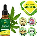 Hemp Oil Drops 4000mg, Full Spectrum Co2 Extracted, Help Reduce Stress, Anxiety and Pain, Anti-inflammatory, 100% Natural Ingredients, Vegan Friendly, GMO Free