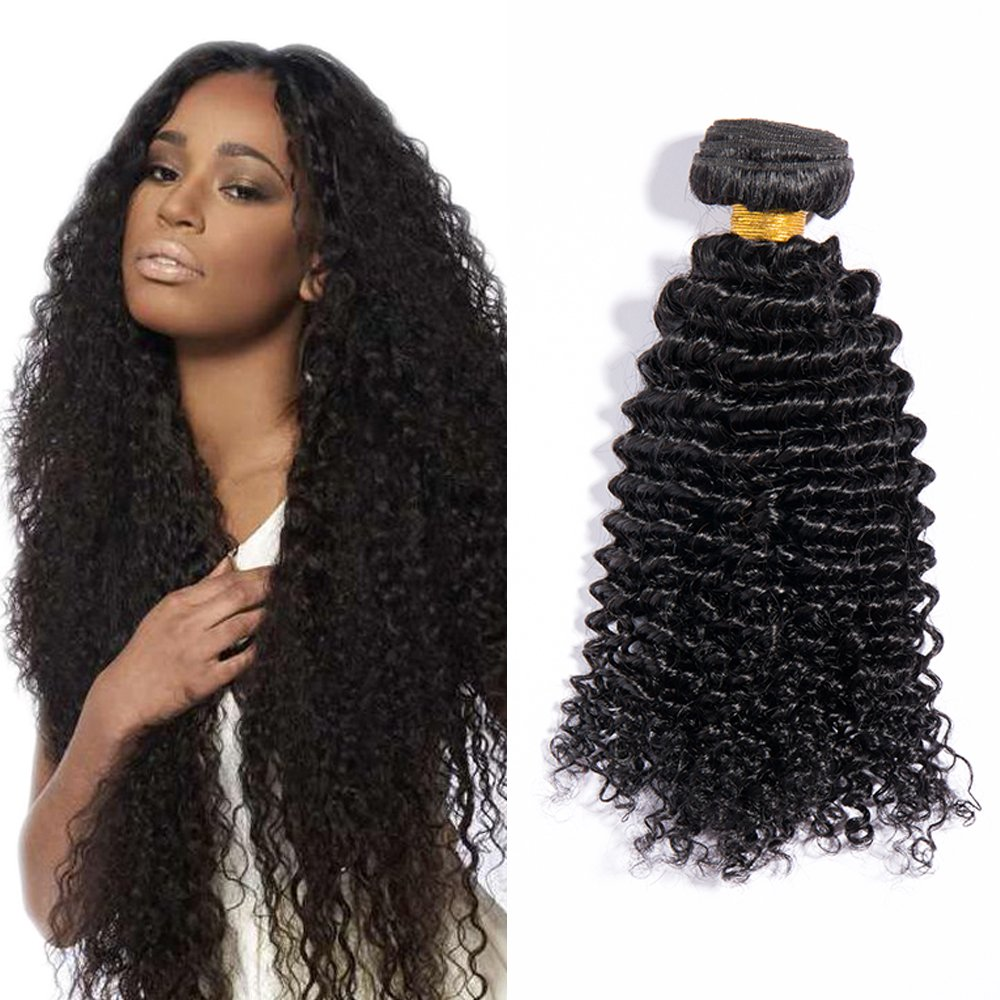 14 Extension Capelli Veri Tessitura Ondulati Deep Wave Brazilian Human Hair 100% Remy 1 Bundle Nero Naturale - 35cm 100g Lady Outlet Mall