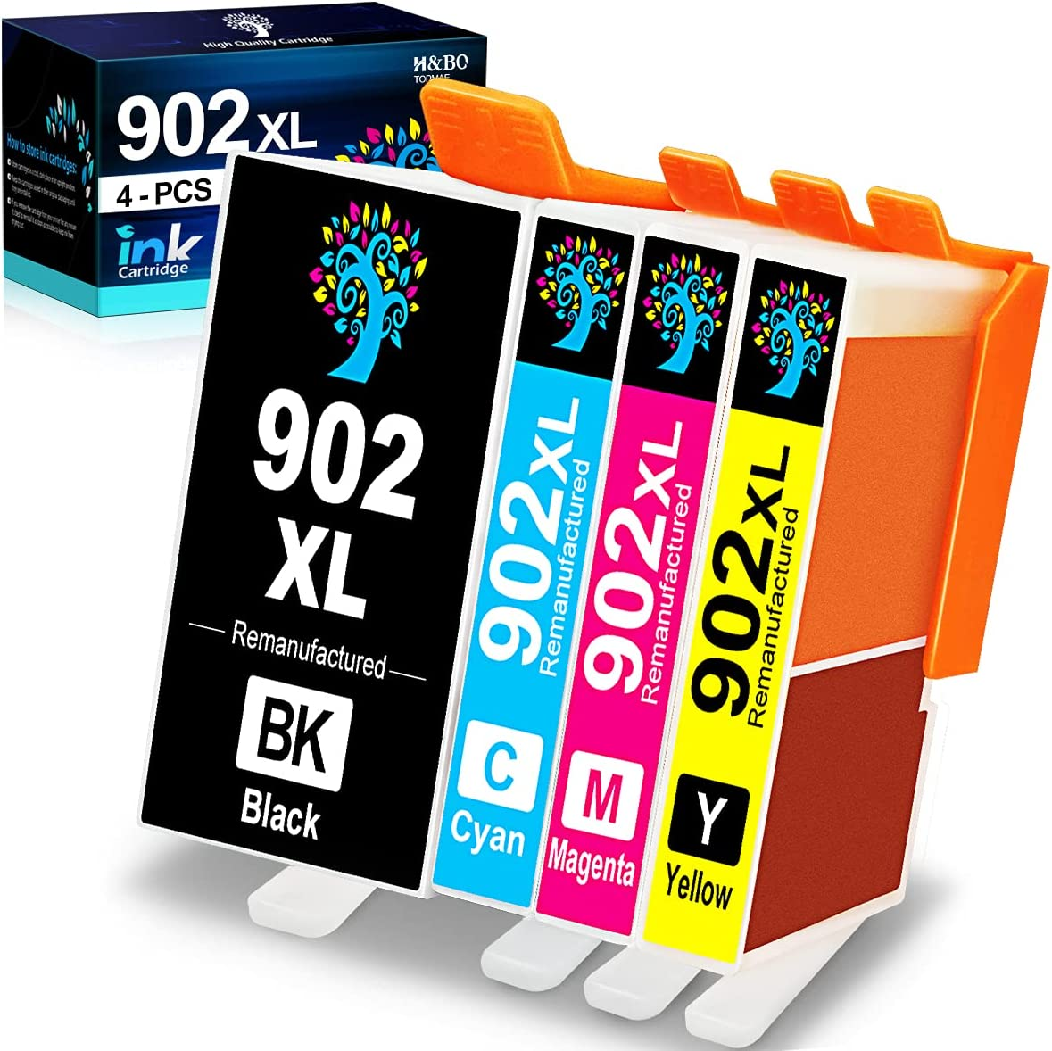H&BO TOPMAE Compatible Ink Cartridge Replacement for HP 902XL 902 XL Ink Cartridge for HP OfficeJet Pro 6978 6968 6958 6962 6950 6954 6960 6970 6975 6979 Printer (4 Pack)