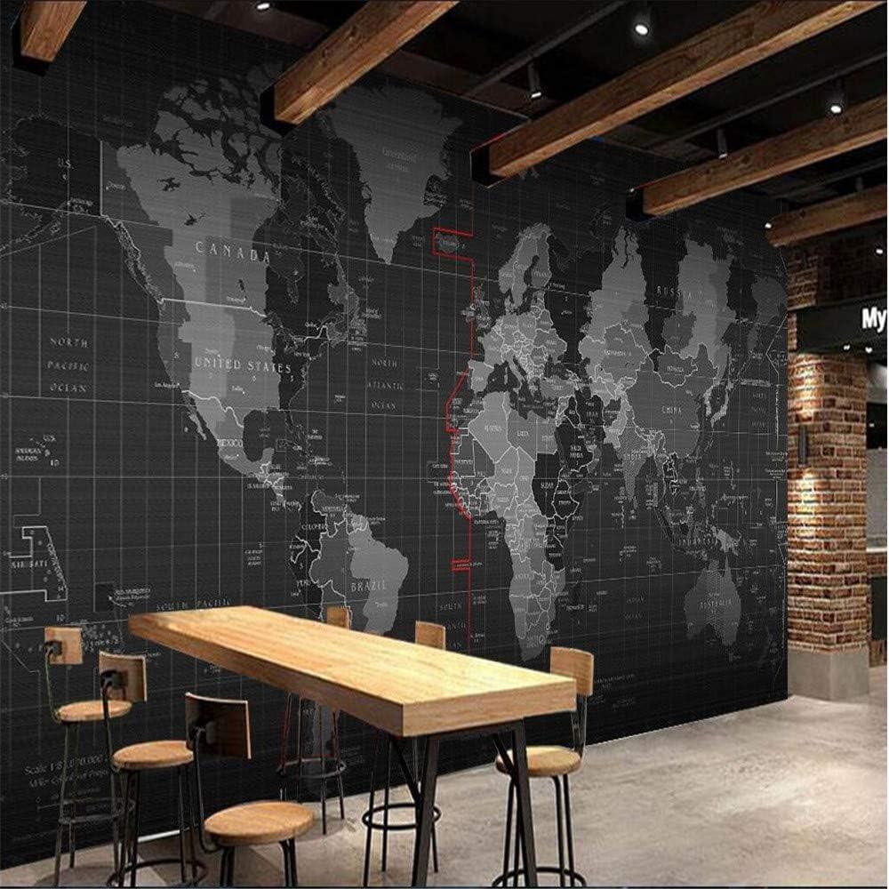 Wall Mural 3D Black And White Technology World Map Custom