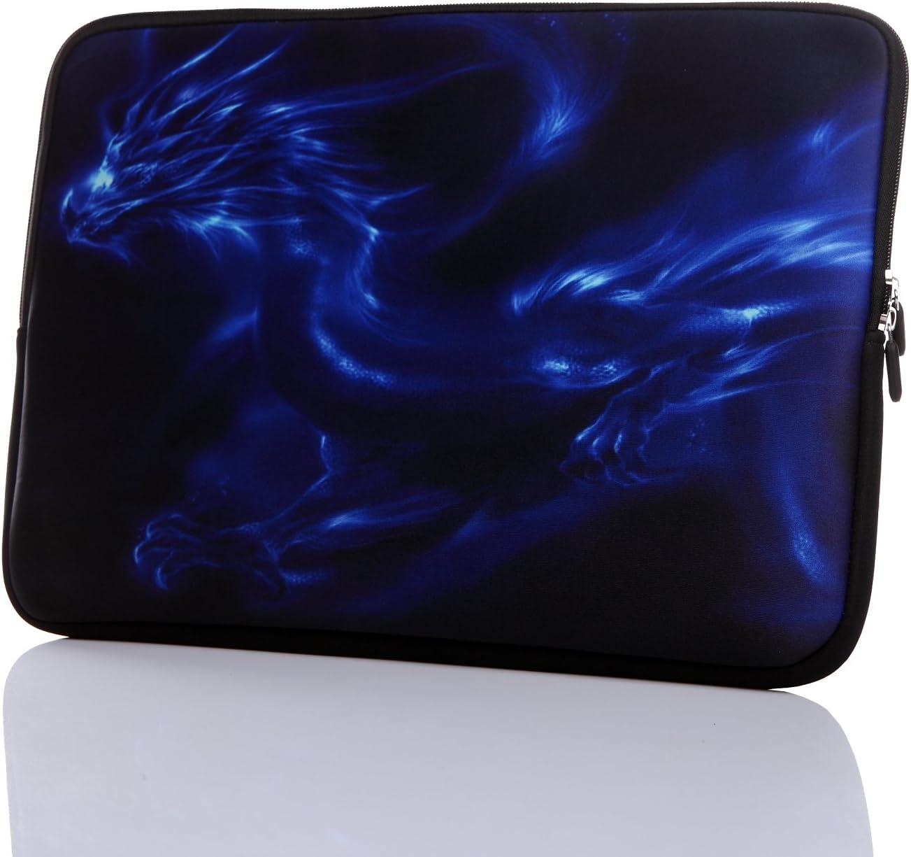"11.6-Inch to 12.5-Inch Neoprene Laptop Sleeve Case with Hidden Handle for 11 11.6 12 12.2 12.5"" Inch Men Women MacBook/Tablet/Netbook (11.6-12.5 Inch, Blue Dragon)"