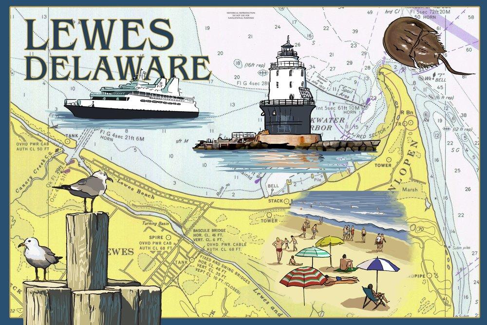Lewes、デラウェア州 – Nautical Chart # 2 36 x 54 Giclee Print LANT-49369-36x54 36 x 54 Giclee Print  B017EA0BI4