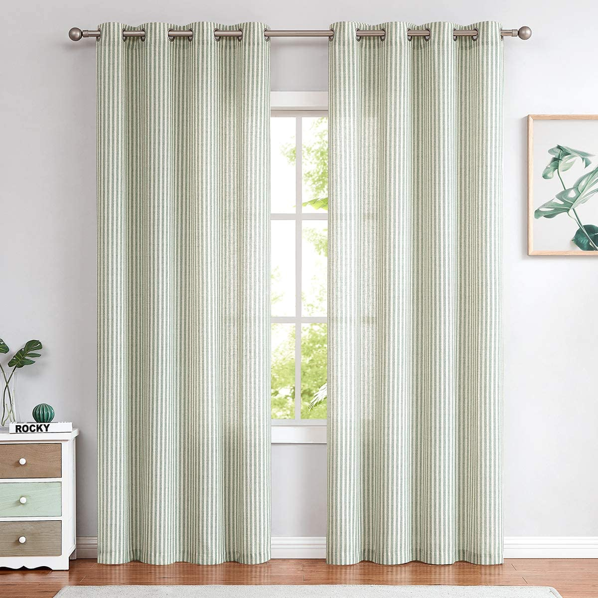 Linen Textured Curtains for Living Room Stripe Pattern Grommet Top Light Reducing Window Treatment Set for Bedroom 2 Panels 84 inch Long Sage