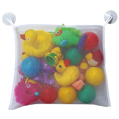KIDS BABY BATH TIME TOY TIDY STORAGE SUCTION CUP BAG MESH BATHROOM ORGANISER NET