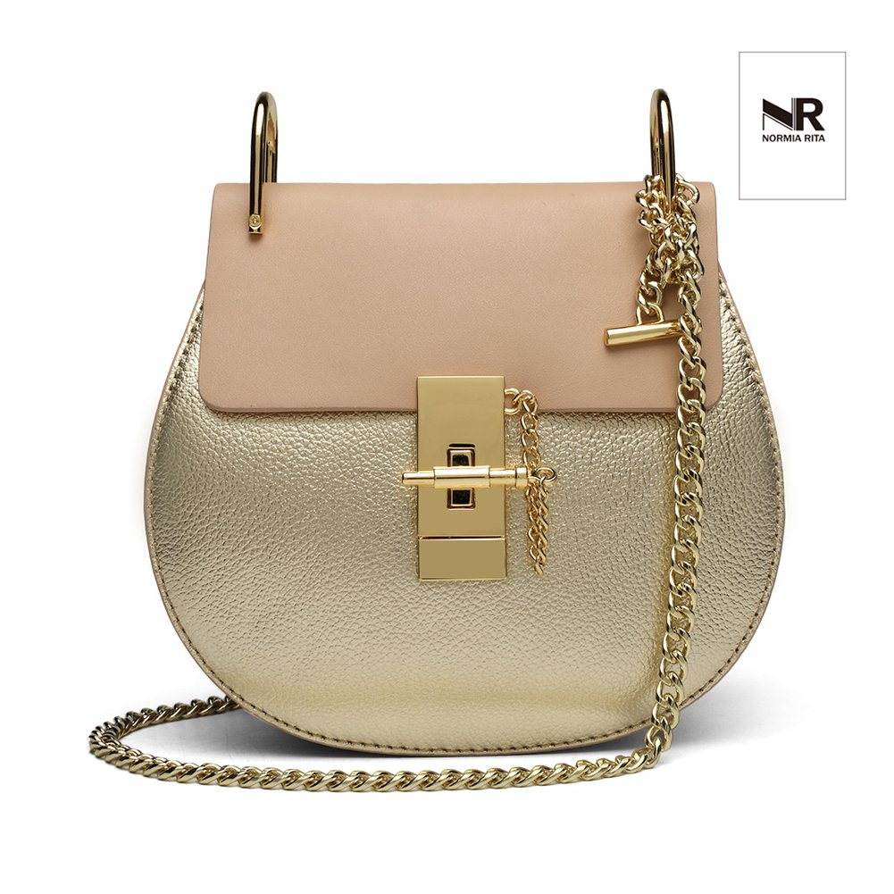 Normia Rita Punk Style U-Ring Flap Bag Chain Bag Crossbody Envelope Bag Clutch Mini Bags For Girls - Gold