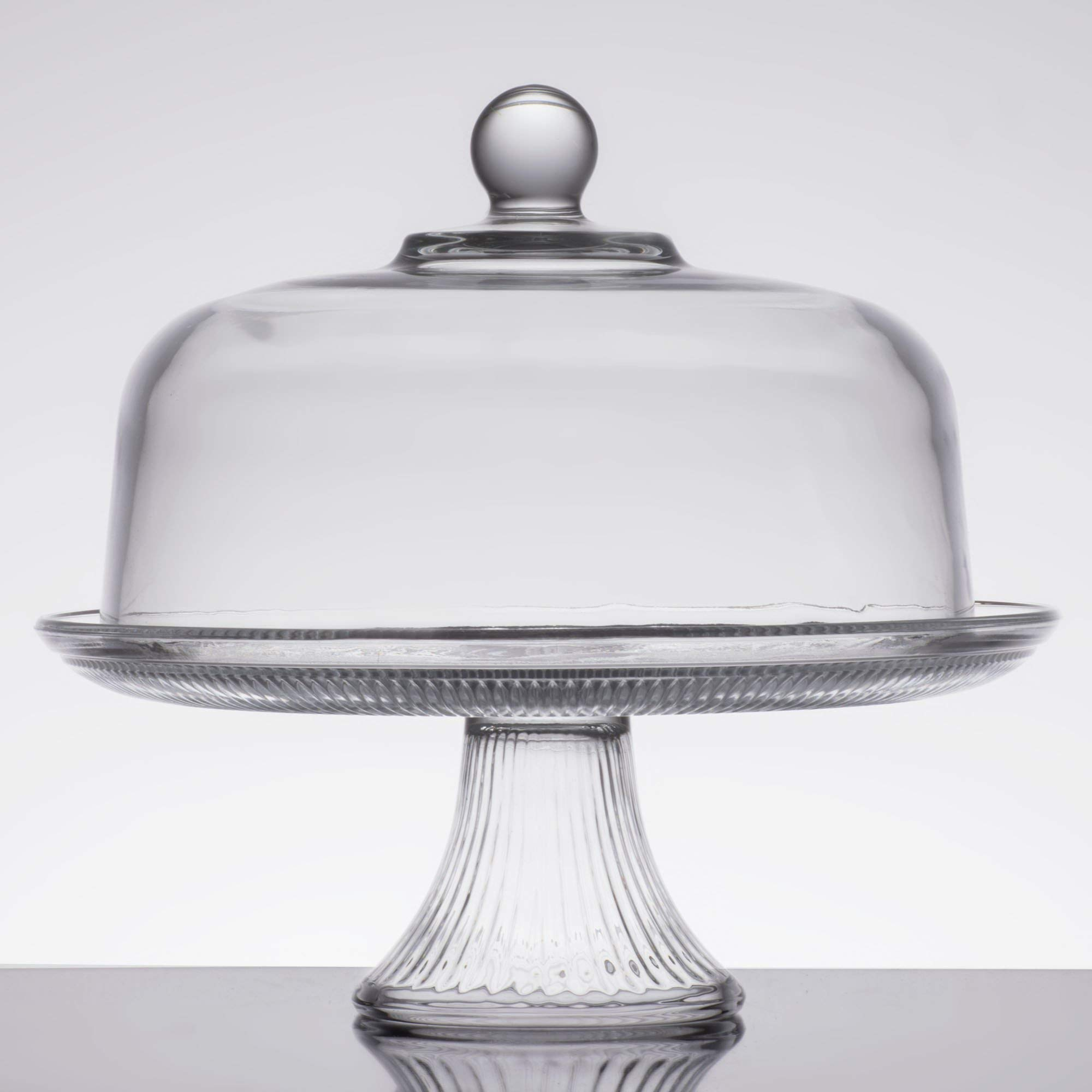 TableTop King 86475L13 Canton 12'' Glass Cake Stand/Punch Bowl Set