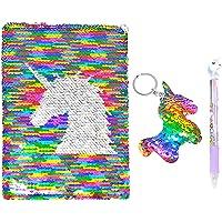 QearFun Unicorn Notebook A5 y juego de bolígrafos para niños, Flippy Sequin Diario Diario Artículos de papelería para estudiantes Artículos de regalo con un llavero de lentejuelas Unicorn (Colorear)