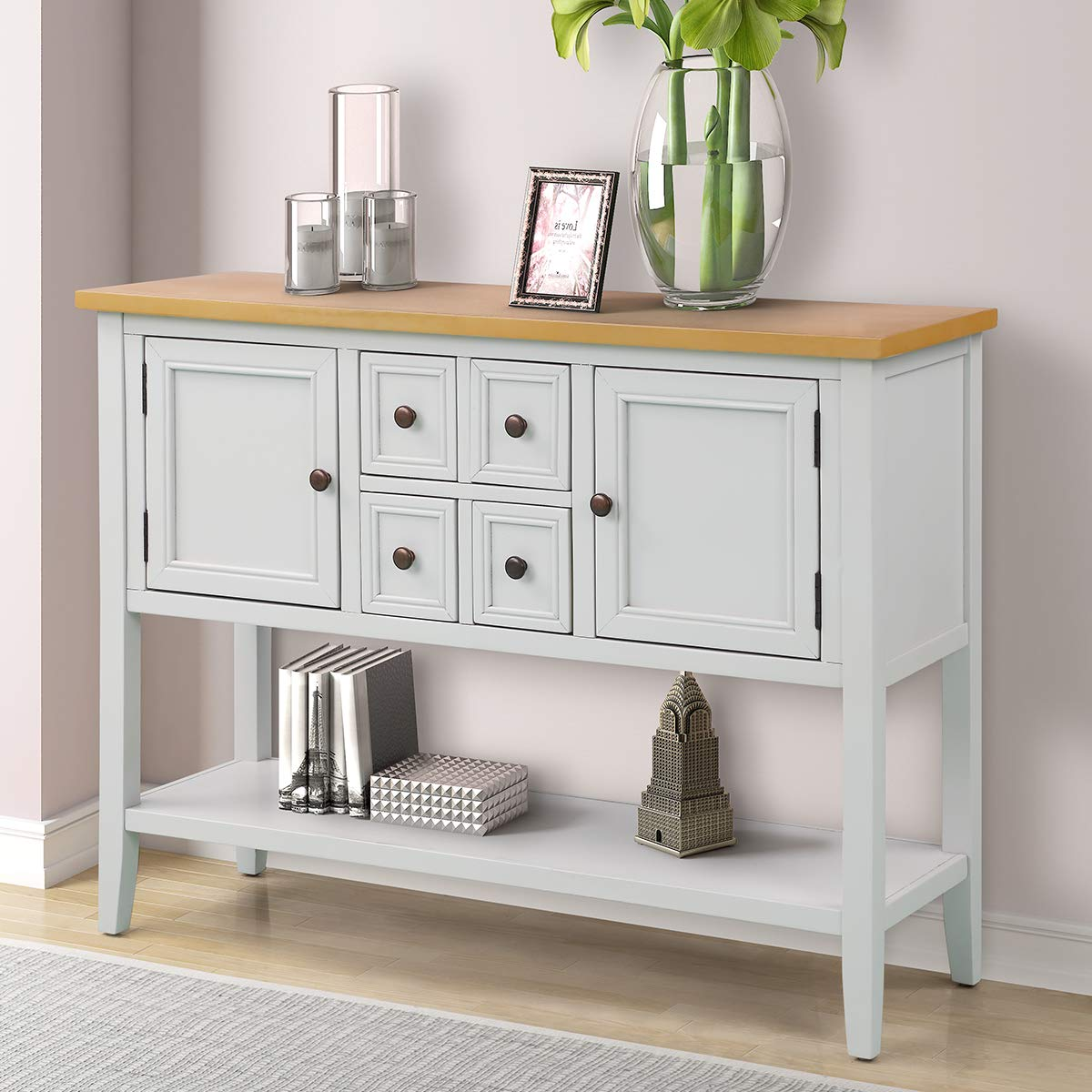 EiioX Console Table with Bottom Shelf Buffet Sideboard Desk for Livingroom Dining Room, Exquisite Handle, 2 Cabinets and 4 Drawers, Lime White
