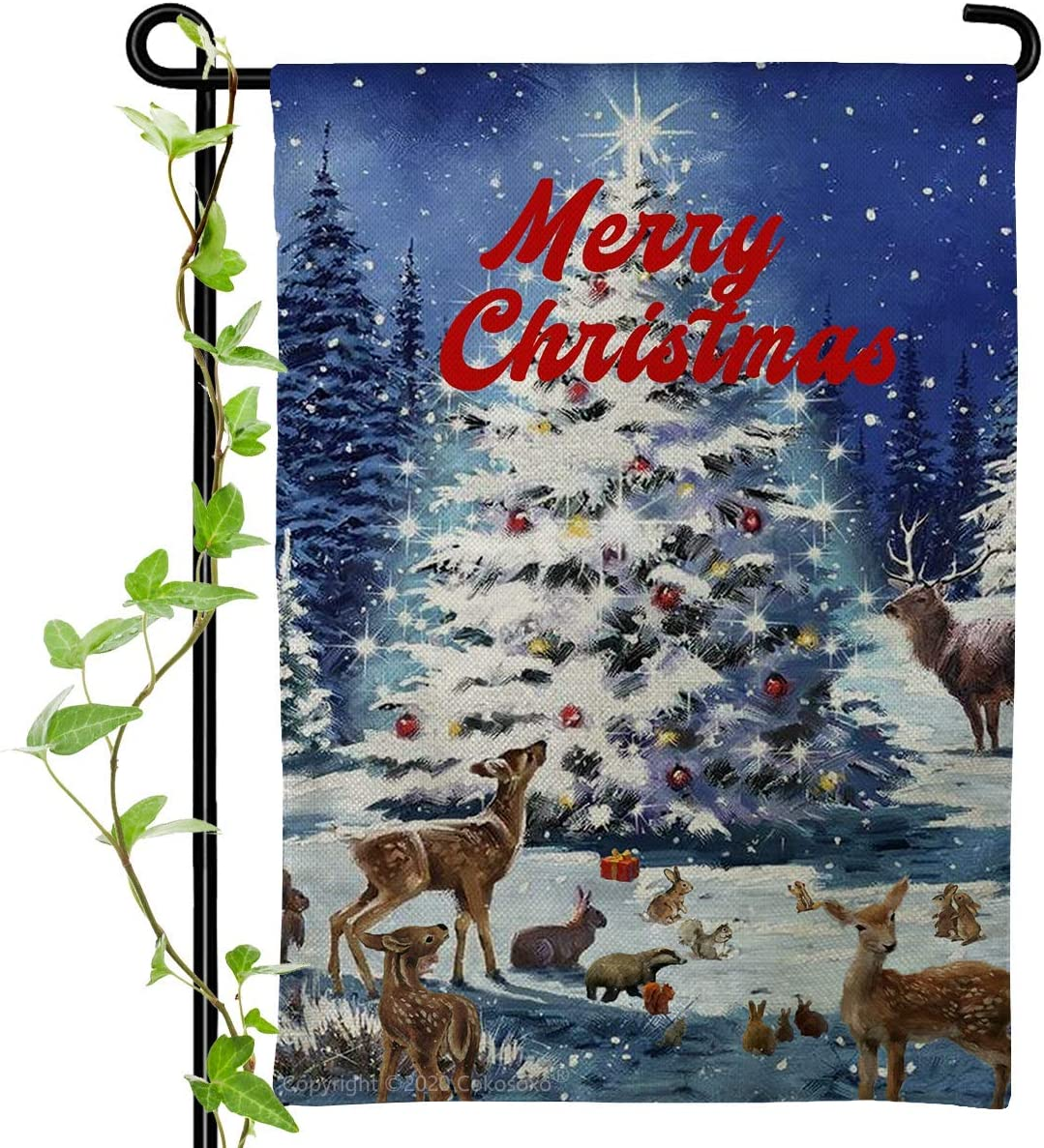 Merry Christmas Garden Flag Bonsai Tree Elk Deer Rabbit Most Animals House Banner Winter Snowflakes Decorative Flag for Holiday Yard Home Outdoor Decor 12x18